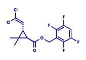 Transfluthrin insecticide molecule, illustration