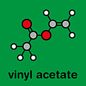 Vinyl acetate molecule, illustration
