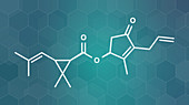Allethrin pyrethroid insecticide molecule, illustration