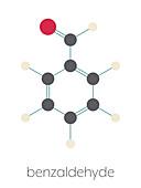 Benzaldehyde bitter almond odour molecule, illustration