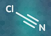 Cyanogen chloride toxic gas molecule, illustration