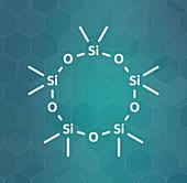Decamethylcyclopentasiloxane D5 molecule, illustration