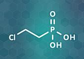Ethephon plant growth regulator molecule, illustration