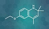 Ethoxyquin food preservative molecule, illustration
