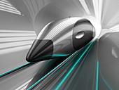 High-speed train in tunnel, illustration