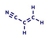 Acrylonitrile molecule, illustration