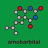 Amobarbital barbiturate sedative, illustration