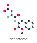 Aspartame artificial sweetener molecule, illustration