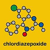 Chlordiazepoxide sedative and hypnotic drug, illustration