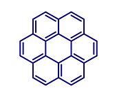 Coronene polyaromatic hydrocarbon molecule, illustration