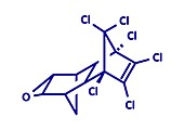 Dieldrin pesticide molecule, illustration