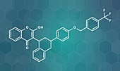 Flocoumafen rodenticide molecule, illustration