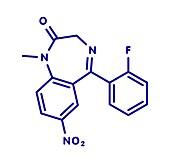 Flunitrazepam hypnotic drug molecule, illustration