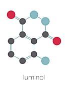 Luminol chemiluminescent molecule, illustration