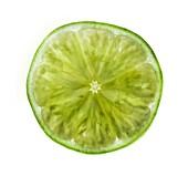 Cut lime showing segments, X-ray