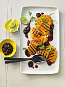 Sweet mango schnitzel with mint tartare