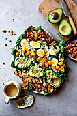 Vegetarian cobb salad on a serving dish