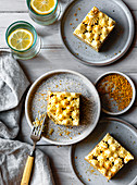 Lemon sheet cake with bee pollen