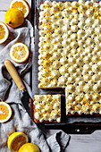 Lemon sheet cake with cream cheese frosting and bee pollen