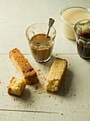 Buttermilk Rusk and coffee with condensed milk