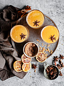 Winter orange drink with star anise and brown sugar