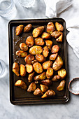 Crunchy Roast Potatoes On Baking tray