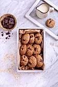 Oats chocolate chip cookies in a white wooden box