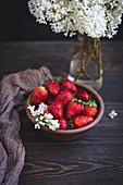Strawberries in a ceramic bowl