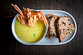 Sweetcorn soup with langoustine and sourdough bread