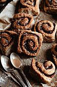 Glazed chocolate cinnamon rolls