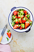 Washed Strawberries in Enamel Colander