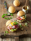 'Eat the Ball' Earthball burgers with Leberkäse (beef and pork meatloaf) and fried eggs