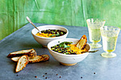 Yellow Moong Dal Soup with Crispy Black Lentils