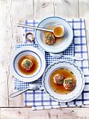 Caprese dumpling soup