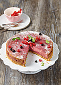 Pink currant cheesecake, sliced