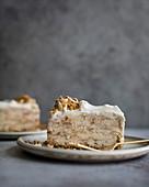 Vanilla streusel ice cream cake on a plate.