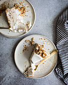 Vanilla ice cream cake with nut topping