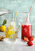 Strawberry lemonade and lemon-and-ginger lemonade
