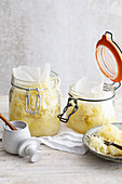 Homemade sauerkraut in jars