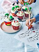 Family, homemade gifts Elf and santa cupcakes