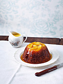 Apple pudding with golden syrup
