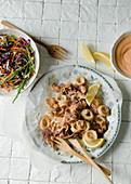 Salt & Pepper Squid with coleslaw