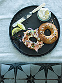 Bagel, Salmon, Cream cheese, Red onion, Capers
