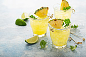 Pineapple margarita with lime and cilantro