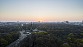 Scenic view Victory Column and Berlin cityscape at sunset, Germany