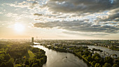 Sunset sky over Berlin and Spree River, Germany