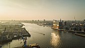Sunny scenic view Elbe River and Philharmonic Hall, Germany