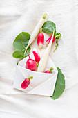Fresh radishes, red and white