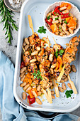 Chicken skewers with a white bean salad