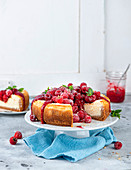New York cheese cake with raspberries, sliced